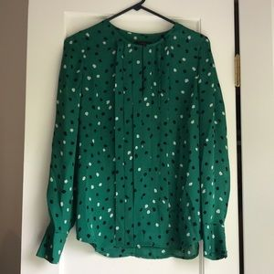 J. Crew green dotted silk blouse
